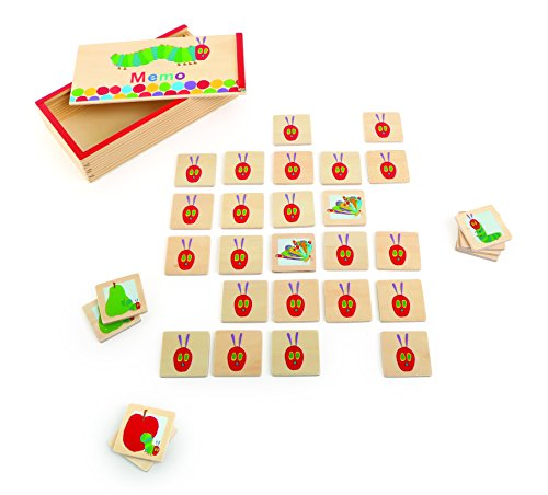 Raupe Nimmersatt Memo aus Holz, verziert mit bunten Motiven der kleinen Raupe, in einer praktischen Holzbox, ideal zum Mitnehmen, klassisches Gedächtnisspiel ab 2 Jahren