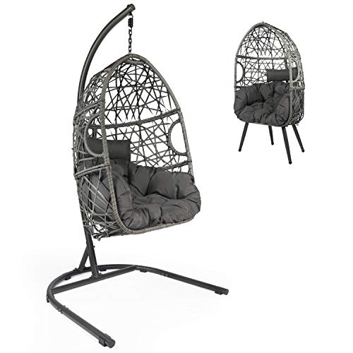 OKL Hanging Rattan Egg Chair, Swing Chair with C Hammock Stand Set, Chair with Soft Seat Cushion &...