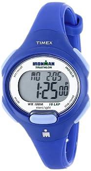 Timex Women s T5K784 Ironman Essential 10 Mid-Size Orient Blue Resin Strap Watch