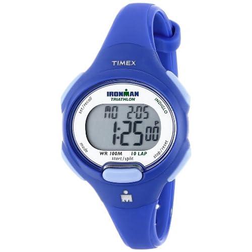 Timex T5K784 Women's Ironman Triathlon Indiglo 10-Lap Grey Digital Dial Blue Resin Strap Alarm Chronograph Watch