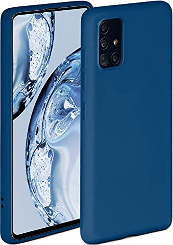 ONEFLOW Soft Hülle kompatibel mit Samsung Galaxy A51 Hülle aus Silikon, erhöhte Kante für Displayschutz, zweilagig, weiche Handyhülle - matt Blau