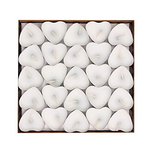 YMOON 50 Pack Heart Shaped Unscented Tea Lights Candles – Smokeless Tealight Candles - Decorations for Wedding, Party, Votives, Oil Burners and Christma (White)