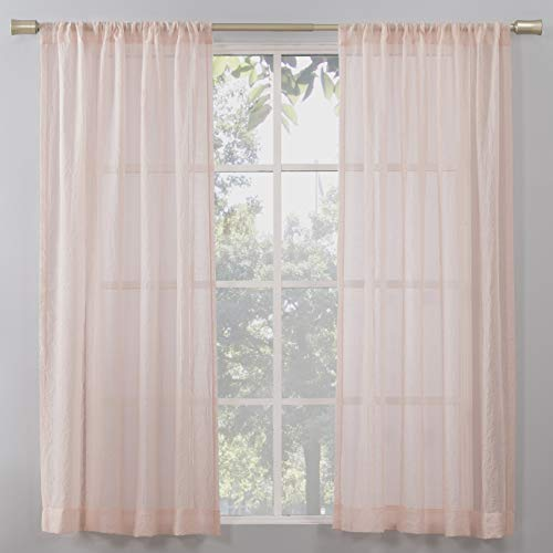 No. 918 Genevieve 2-Pack Linen Weave Semi-Sheer Rod Pocket Curtain Panel Pair, 50' x 63', Blush Pink