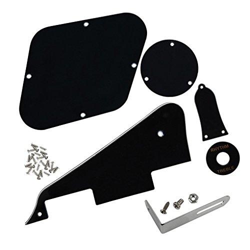 IKN 1 Set Standard LP Gitarren Pickguard/Backplate Cavity/Black Bracket/Black Pickup Selector Plate / / Halsstababdeckung/Schrauben, 3-lagig Schwarz/Weiß/Schwarz