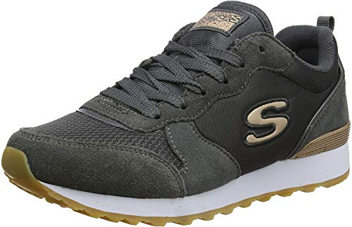 Skechers Women's RETROS-OG 85-GOLDN GURL Trainers, Grau (Charcoal Suede/Nylon/Mesh/Rose Gold Trim Ccl), 40 EU
