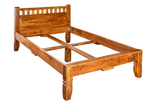 MASSIVMOEBEL24.DE Koloniales Bett 140x200 Honig Akazie massiv Möbel Oxford #221