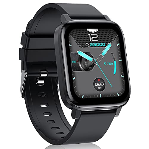 LIYIFANKJ Reloj Inteligente 1.7 Pulgadas para Hombres Mujeres Smartwatch IP68 Impermeable24 Modos DeportivosNadarPulsómetrosReloj Deportivo Compatible con Android iOS (Negro)