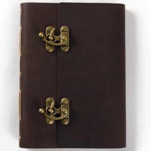 Ancicraft Handgefertigtes Notizbuch mit Ledereinband, blanko Seiten mit coolem Schloss