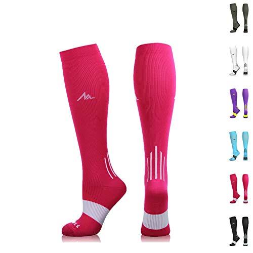 NEWZILL Compression Socks (20-30mmHg) for Men & Women (Pink, Large)