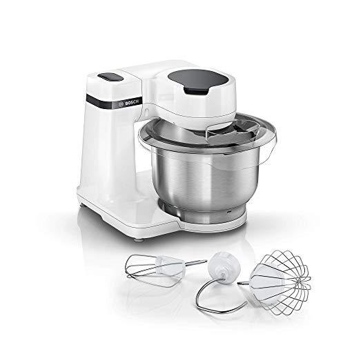 Bosch MUMS2EW00 Küchenmaschine MUM Serie 2, 700 W, 3,8 L Edelstahlschüssel, 4 Arbeitsstufen, Momentstufe, Patisserieset Edelstahl, weiß