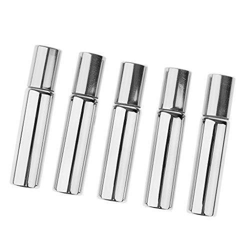 5 Stück Glänzend leere Roll-on-Flasche mit Deo-Roller zum Selbst befüllen, 10ml - Silber