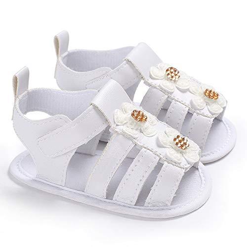 Baby Meisjes Sandals Peuter Newborn Infant Princess sandalen Soft Anti-slip zool Witte Bloemen van de baby Walking schoenen Platte schoenen Slipper Schoenen (Color : Type-B, Size : M)