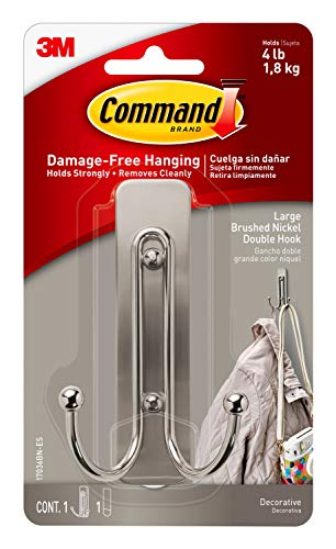 Command Large Double Wall Hook Brushed Nickel Decorate Damage-Free
