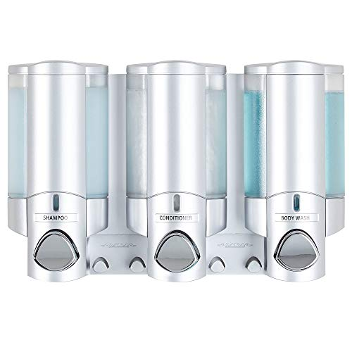 Better Living Products 763351 Aviva 3 Chamber Wall Mount Soap and Shower Dispenser Satin SilverChrome