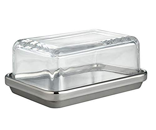Alessi Es03-Design Butter Dish with Lid Glass, Mirror Polished, Steel