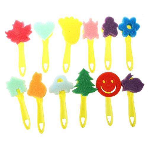 TOOGOO(R) 12 pcs colore differentes formes Enfants Peinture Artisanat Eponge cachet