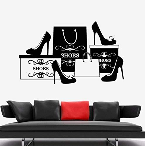 Wandaufkleber Vinyl Art Deco Interieur Wandaufkleber Mode Schuhe High Heels Shop Shopping Schuh Shop Fenster 70X42cm