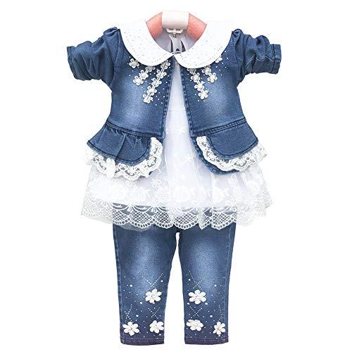 YYA 6M-4J Baby Mädchen Jeans 3-teiliger Anzug bestickter Spitzenrock Jeansjacke und Jeans(Weiß,6-12M)