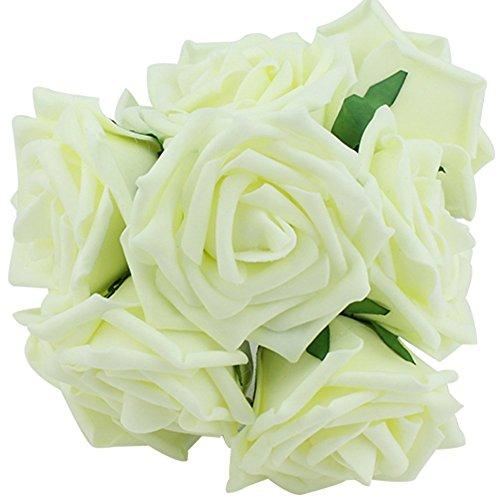 weimay 10pcs la novia Ramo Espuma Emulación Rose Flores ramo dama de honor Leche color blanco