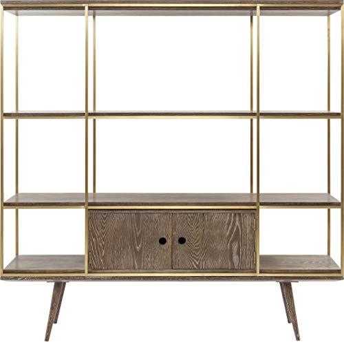 Kare Design Regal Showcase Storm, Bücherregal aus Stahl mit Regalwänden und einer Doppeltür für das Wohnzimmer, goldener Rahmen, sehr edel und großes Standregal, (H/B/T) 183x180x45cm