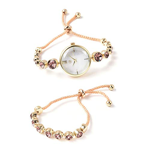 Set of 2 GENOA Japanese Movement Vintage Rose Swarovski Crystal Studded Water Resistant Bracelet Watch and Adjustable Bolo Bracelet (Size 6-9.5) in Yellow Gold Tone