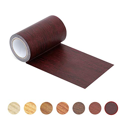 Repair Tape Patch 2.4' X15' Wood Textured Adhesive for Door Floor Table and Chair(Dark Cherry)
