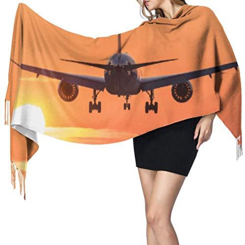 Vliegtuig Vliegen In De Zonsondergang Wikkel Vrouwen Sjaal Set Voor Meisjes Print Sjaal 77