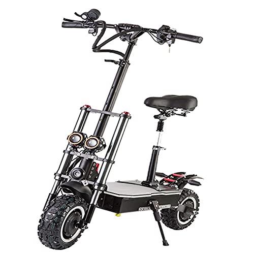 25km / h Scooter eléctrico con Asiento, 60V 3200W 11 Pulgadas Off Road Adult Mobility Scooter Patada Plegable Scooters 2 Gran luz LED, para Viajes, Adultos, Ancianos
