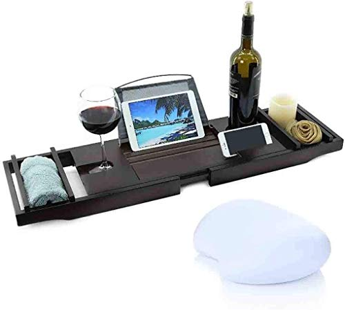 Couverture Baignoire Baignoire de luxe en bambou Caddy Baignoire Plateau avec extension Côtés intégré dans le porte-livre tablette portable Plateau et intégré Porte-verre à vin et autres accessoires d
