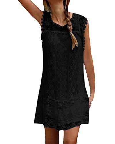 YOINS Sommerkleid Damen Kurze Elegant Strandkleid Schulterfrei Blumenmuster Sexy Kleid Ärmellos Minikleider A-schwarz L