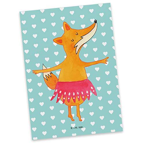 Mr. & Mrs. Panda Grußkarte, Einladung, Postkarte Fuchs Ballerina - Farbe Türkis Pastell