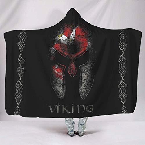 Manta con capucha impresa Viking tatuaje manta con capucha elegante manta portátil para sofá White9 152 x 127 cm