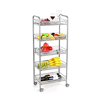 Homfa 5-Tier Mesh Wire Rolling Cart Multifunction Utility Cart Kitchen Storage Cart on Wheels, Steel Wire Basket Shelving Trolley,Easy Moving,Silver from Homfa