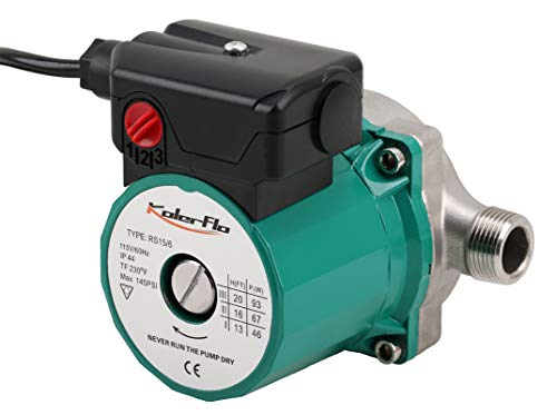 """KOLERFLO 3/4"""" NPT Hot Water Circulation Pump Stainless Steel Recirculating Water Pump for Portable Water System(RS15-6 SS Green)"""