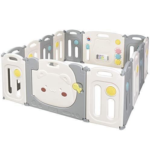 COSTWAY Parque Infantil Bebé con 14 Paneles Plegable Centro de Actividad para...