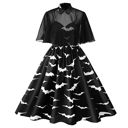 WFRAU Damen Retro Halloween Kleider Übergröße 1950s Bat Drucken Ärmellos Strap Abendgesellschaft Abschlussballkleid Hausfrau Karneval Kleid,Größe L-4XL