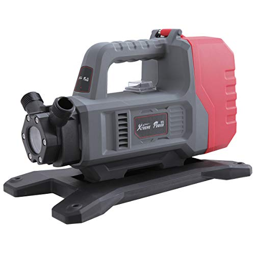 XtremepowerUS 18V Lithium-Ion Cordless Transfer Pump Water Transfer Pump Inlet Hose Suction 18v Battery Operated, Grey/Red