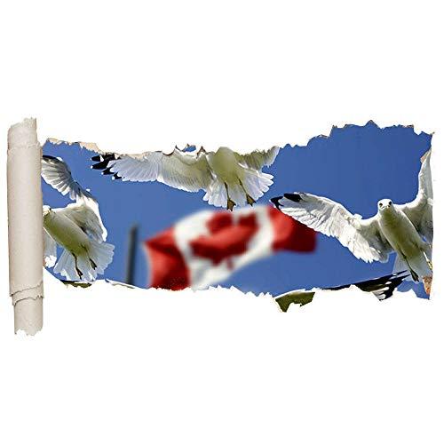 ZhuHZ Wandaufkleber Vogel Taube Kanada Flagge Cooles Vinyl zerrissenes Loch Mädchen Junge D158