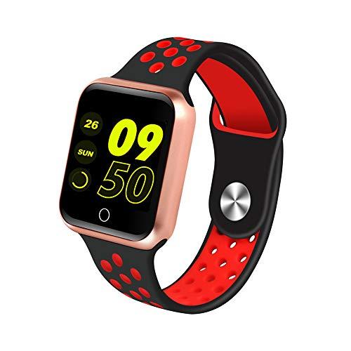 Alician S226 Smart Horloge Fitness Tracker Hartslagmeter Smart Armband Bloeddruk Stappenteller, Gouden schaal + zwarte rode riem