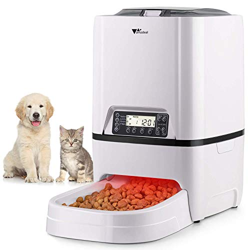 amzdeal Automatic Cat Feeder 6L Pet Feeder Dog Food Dispenser with Time and Meal Size Programmable,...