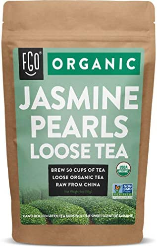 Organic Jasmine Pearls Green Tea Brew 50 Cups 4oz 113g Resealable Kraft Bag by FGO product image