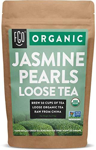 Organic Jasmine Pearls Green Tea | Brew 50 Cups | 4oz/113g Resealable Kraft Bag | by FGO