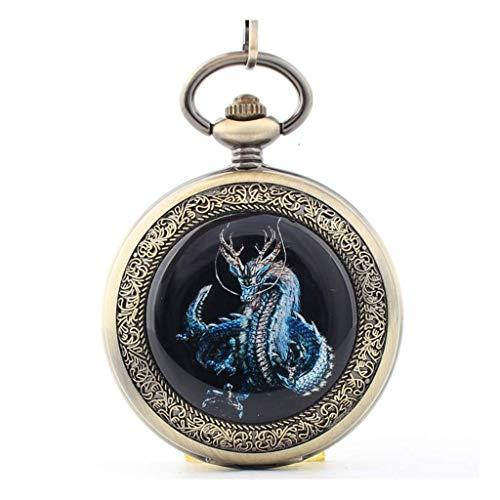 HCFSUK Reloj de Bolsillo con Estilo clásico.Reloj de Bolsillo y Cadena de Reloj de Bolsillo, máquina Manual Vintage Flip Dragon Zodiac, como Regalo del día del Padre/Anciano/Aniversario/Navi