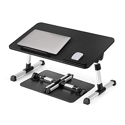 """Dolar Laptop Bed Desk, Adjustable Laptop Tray Bed Table with Ergonomic Angle & Wrist Rest, Foldable Notebook Computer Stand for Bed /Couch /Sofa Working, Eating, Reading (Black, M (20""""x11.8""""x0.35""""))"""