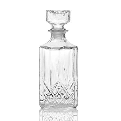 Decantador De Whisky De Vidrio Cortado | Jarra de vidrio | Regalo de barcraft | Vino, whisky, brandy y botella de agua | M&W