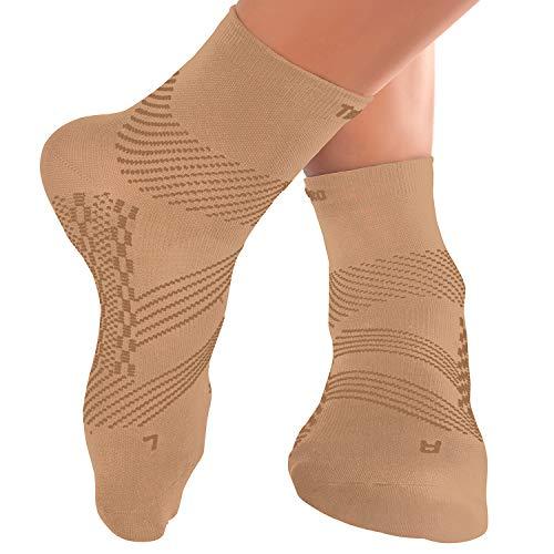 TechWare Pro Plantar Fasciitis Support Brace Socks - Womens & Mens Compression Socks. (Beige Large)