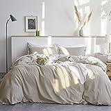 Bedsure Linen Duvet Cover Queen 55% Cotton 45% Linen Duvet Cover Set - 3 Pieces Comforter Cover Set...