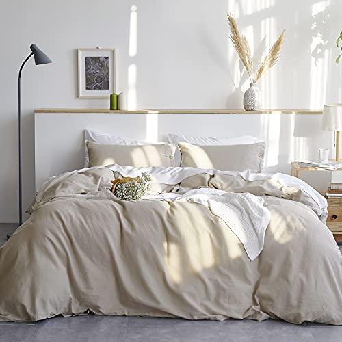 Bedsure Linen Duvet Cover Queen 55% Cotton 45% Linen Duvet Cover Set -...
