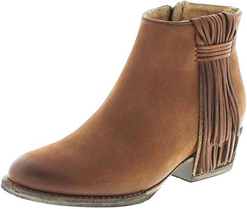 Mezcalero Boots Damen Stiefelette CAMIL Roble Lederstiefette mit Fransen Braun 36 EU