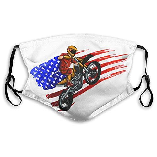 Fun-World Gesichtsschutz Mundschutz Motocross Rider On A Motorcycle Mundschutz mit Filter Waschbar Atmungsaktive Staubdicht Schutz Bandana